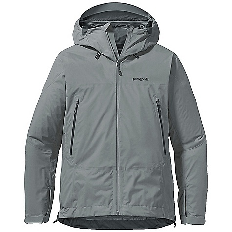 Free Shipping. Patagonia Men's Super Cell Jacket DECENT FEATURES of the Patagonia Men's Super Cell Jacket 2-layer nylon Gore-Tex fabric with Paclite Product Technology repels moisture and packs down to nothing Optimal Visibility Hood: Helmet-compatible 2-way adjustable hood with laminated visor provides good visibility in poor conditions Touch Point System with embedded cord locks in hood and hem for quick-and-easy adjustment Microfleece-lined neck and wind flap for next-to-skin comfort Full Reach Gusseted Panels: Gusseted underarm panels let you extend your reach without raising the body of the jacket Watertight-coated pit zips offer ventilation Harness- and pack-compatible pockets feature supple, watertight-coated Slim Zips that reduce bulk and weight Low-profile gusset cuffs create a tight wrist seal The SPECS Regular fit Weight: 13.5 oz / 382 g 2.7-oz 40-denier 100% nylon Gore-Tex fabric with Paclite Product Technology and a DWR (durable water repellent) finish This product can only be shipped within the United States. Please don't hate us. - $269.00