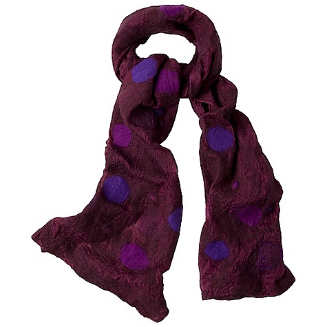 Free Shipping. Prana Aria Scarf DECENT FEATURES of the Prana Aria Scarf Boiled wool felt Polka dot design The SPECS Wide: 14in. wide, Long: 77in. Fabric: 100% Wool - $49.95