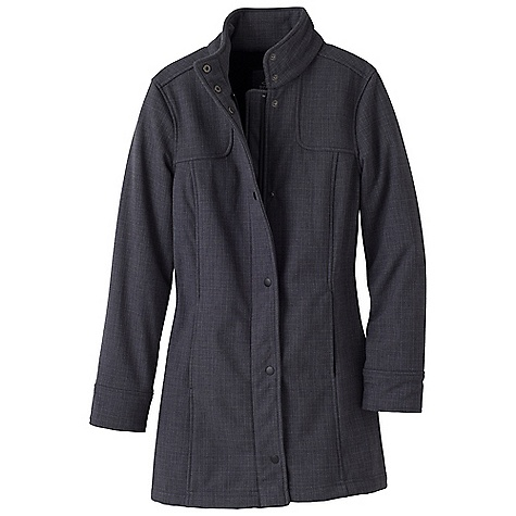 Free Shipping. Prana Women's Misty Jacket DECENT FEATURES of the Prana Women's Misty Jacket Heathered slub woven outer bonded with fur fleece inside Water-resistant Zippered front with matte snaps at flap Zippered pockets Car coat length Standard fit The SPECS Fabric: 90 Polyester / 10 Thermal Polyurethane - $198.95