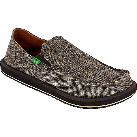Skateboard On Sale. Free Shipping. Sanuk Men's Vagabond Stitch Shoe DECENT FEATURES of the Sanuk Men's Vagabond Stitch Shoe Men's Sidewalk Surfers High Rebound Molded EVA Footbed AEGIS Antimicrobial Additive Happy U Outsole Handmade Tweed Upper with contrast stitched vamp detailing and Polar Fleece liner Vegan and Vegetarian - $41.99