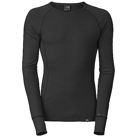 Free Shipping. The North Face Men's Warm Merino L-S Crew DECENT FEATURES of The North Face Men's Warm Merino Long Sleeve Crew Crew neck Monkey thumbs Logo print The SPECS Average Weight: 7.76 oz / 220 g Center Back Length: 28.5in. 180 g/m2 33% merino wool, 38% polyolefin, 29% polyester double knit with FlashDry This product can only be shipped within the United States. Please don't hate us. - $80.00