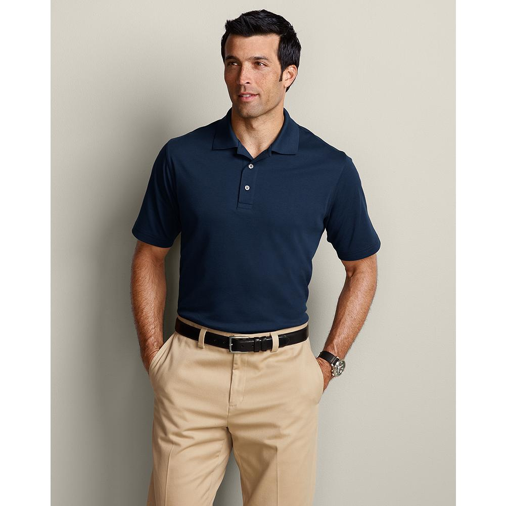 Entertainment Eddie Bauer Classic Fit Solid Performance Polo Shirt - Our most versatile polo offers outstanding comfort and performance on the green, at the office, or on the town. UPF 50, fast-drying, odor resistant, moisture wicking and long lasting. Button placket. Classic fit. Length: 28.5. Imported. - $9.99
