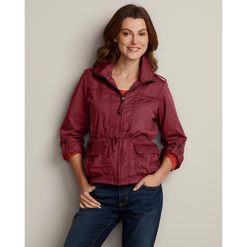 "Fitness Eddie Bauer Field Jacket - A jacket that's light in weight, but loaded with style. Rib-knit side panels for a shaped silhouette, roll-tab sleeve, adjustable cuffs and two hidden-snap front pockets. Classic fit. Length: 25"". Imported. - $26.99"