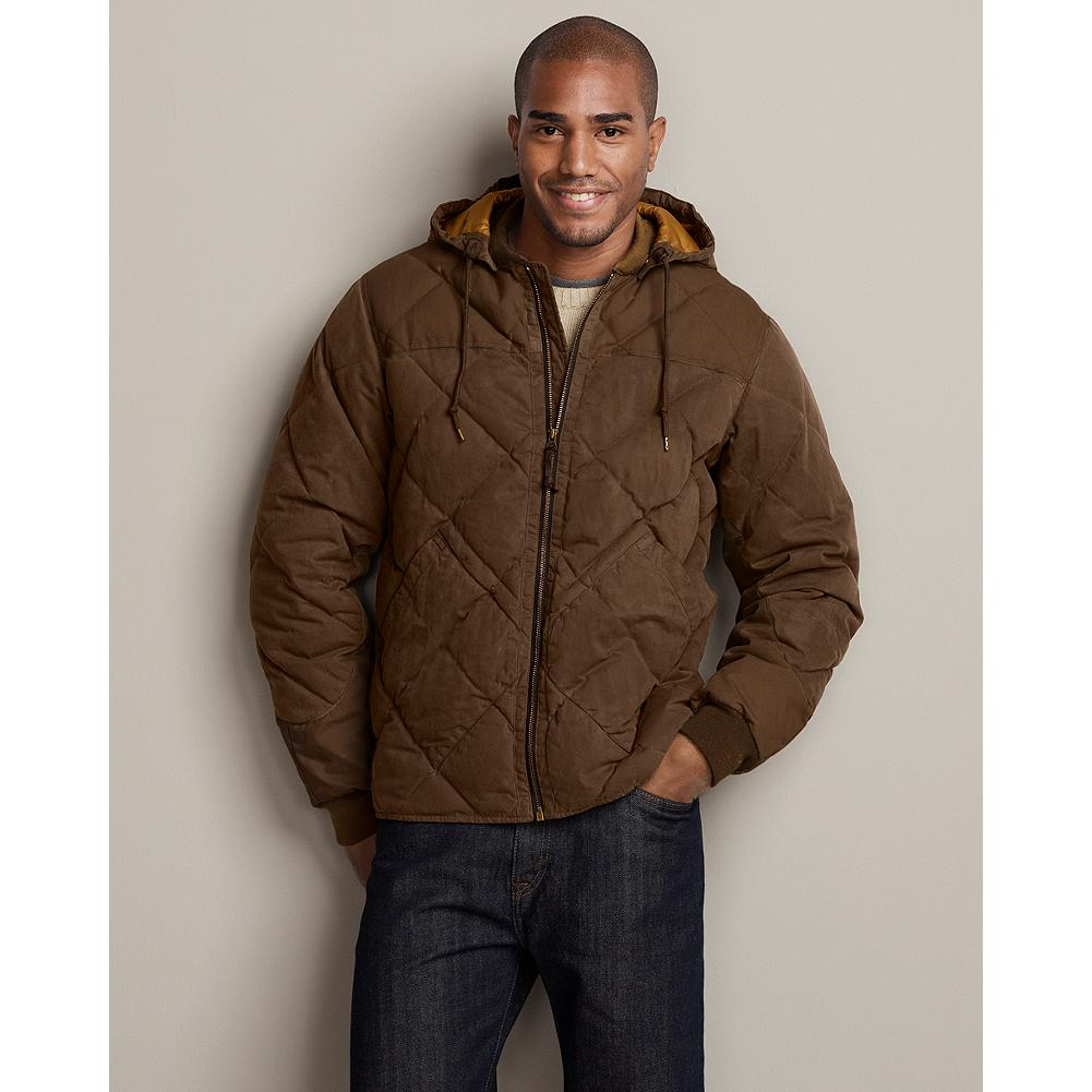 Entertainment Eddie Bauer 1936 Skyliner Model Waxed Cotton Jacket - The first down jacket patented in America, Eddie's Skyliner Model revolutionized cold-weather adventures. And it's still a great-looking, hard-working style. Signature diamond quilting, updated with a water- and wind-resistant shell and detachable hood. Insulated with 550 fill Premium European Goose Down. Slim fit. Cotton. Imported. - $78.99