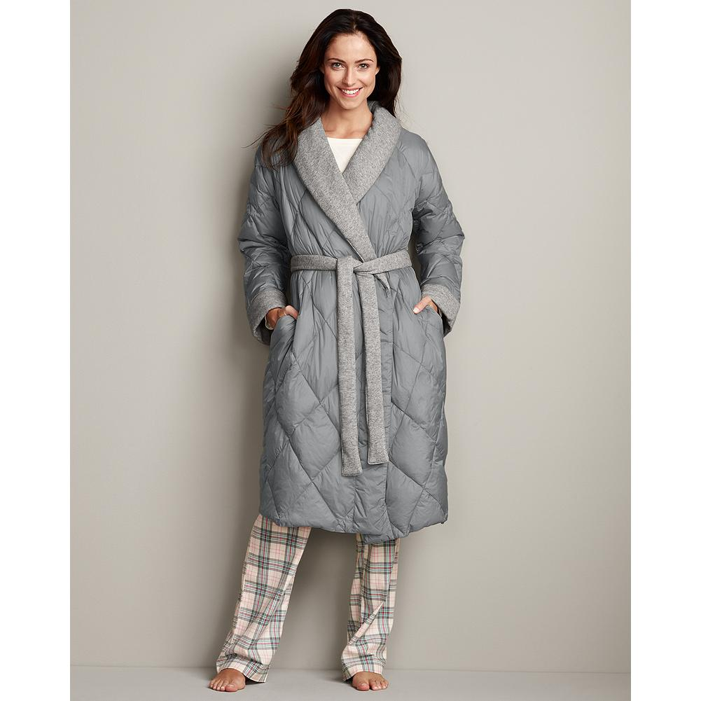 Eddie Bauer Down Robe - Ward off winter's chill in the lightweight comfort and warmth of this quilted down robe. - $159.99