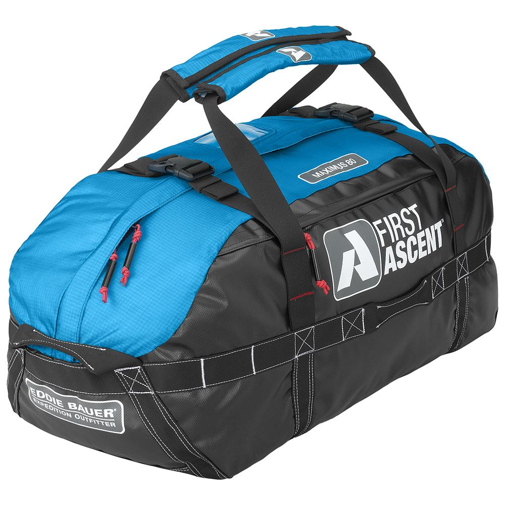 Camp and Hike Eddie Bauer Maximus Duffel 80L - The bag to pack for expeditions of any duration, our new Maximus upgrades its burly reputation with five carry handles, bombproof reinforcement and padded shoulder straps. - $149.00