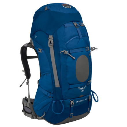 Camp and Hike The Osprey Aether 60 Backpack provides a high-capacity storage option for adventurers who want to shave weight without sacrificing comfort. The AirScape suspension and IsoForm harness ensure comfort and stability while navigating treacherous terrain. - $199.16