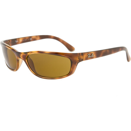 Surf When you are walking down the beach and the sun starts to come up over the sea stacks, slip the Ray Ban 4115 Sunglasses on to shade your eyes. The plastic frame is light and durable, and it has a sporty, wrapped fit so you can go from slow walks on the beach to fast-paced beach games. - $88.95