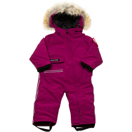 Your little one's world was transformed overnight by three inches of snow; get her outdoors exploring this new landscape wearing the Canada Goose Infant/Toddler Girls' Baby Snowsuit. She'll stay toasty thanks to the fluffy, ultra-lightweight, 625-fill down insulation; on windy days, pull the down-filled, fur-trimmed hood over head for compete protection. - $223.96