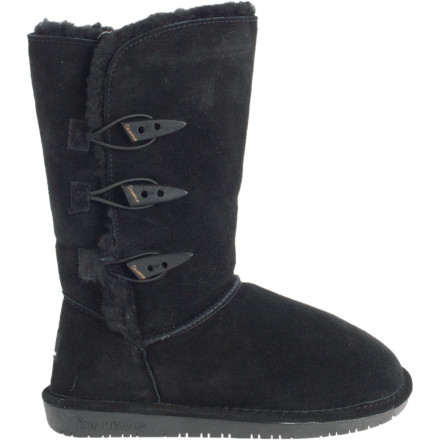 Bearpaw agrees that those ubiquitous suede booties can be a little, well, boring. That's why it dressed up the Women's Sarah Boot with some fetching toggles on the side, so your eyes are as happy as your feet will be when they're wrapped in the Sarah's sheep-derived goodness. - $45.47