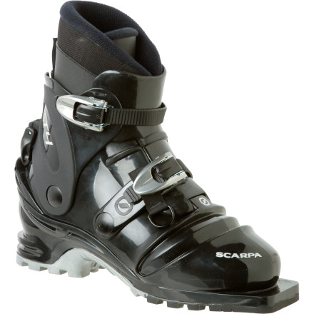 Ski With a minimalist design for touring, the Scarpa T4 Boot is a lightweight offering for tele skiers who are looking for a no-frills ticket to the backcountry. A Pebax shell blends comfort with performance-enhancing stiffness, and the two-buckle design saves weight and hassle on the skin track. - $288.95