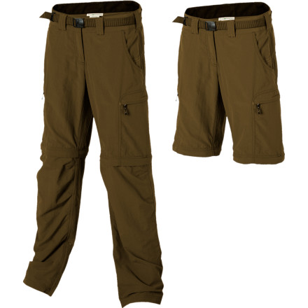 Camp and Hike When you board the plane in a brisk, chilly wind and arrive at your destination to 90-degree heat, come prepared with the Ex Officio Women'd Nio Amphi Convertible Pant. From international travel to a week-long backpacking trip, the Nio Amphi's zip-off legs make changes in temperature an easy fix. The quick-drying, UPF-30+ nylon fabric repels water and stains, and wrinkles, so you can wear them straight from your day hike to dinner. - $63.96