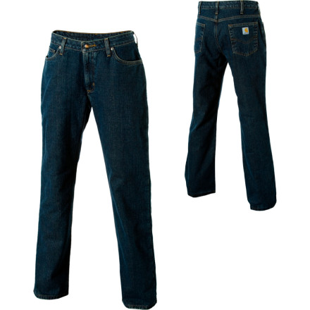 With Carhartts Relaxed-Fit Flannel Lined Denim Pants, you can finally wrap your legs in the softness of a picnic blanket without unintentionally encouraging co-workers to eat lunch off of your lap. These pants might look like an ordinary pair of jeans from the outside, but with their soft, flannel lining, theyll have you feeling like you never changed out of your pajamas. The relaxed seat and thigh provide a roomier fit (gotta have room for all that flannel, right'), while the straight-leg cuffs leave space to accommodate those stunning, ruby-red cowgirl boots. Wear them on cool days when the extra warmth is a welcome change of pace. - $25.84