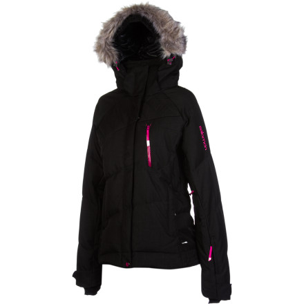 Ski When you think of the Salomon Women's Pic Down II Jacket, think of ultimate warmth for skiing during the day and strolling around town at night. Lofty down insulation fends off the cold no matter how low the thermometer reads, the weatherproof shell fabric protects you from a wet winter storm, and the removable powder skirt means you can comfortably sport the Pic on and off the hill. - $227.47