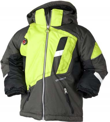 Ski Obermeyer Downhill Kids Jacket in anthracite. Go fast or go home... This asymetrical design has just the right amount of detail to keep the grom happy and movin fast. An downhil race jacket for the young racers. - $60.00