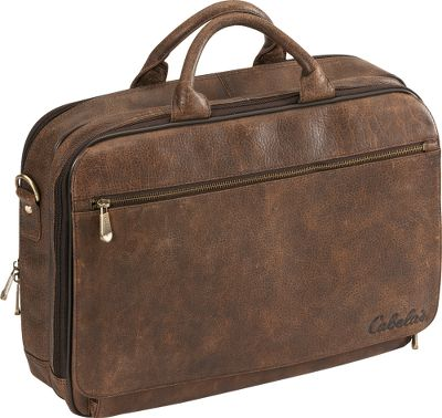 Camp and Hike Constructed of USA range bison leather that has been tanned using a special process in Wisconsin, the leather in this luggage sports an aged distress pattern thats unique to each piece. Its dark brown marble color is brought out by special oils that also deliver a supple feel. The piece is designed exclusively for Cabelas. Its first zippered compartment holds a three-file system and each of the compartments can hold three 1 binders and papers. The second compartment is padded to hold a standard laptop or can be used for additional binders or a clean shirt. The outer back of the case has a convertible zipper you can use as an extra storage pocket or unzip the bottom to slide the case over a telescoping luggage handle for easy toting through airports. A zippered front flap hides an extra pocket that contains a zip-down organizer panel for personal electronics, business cards, pens or keys. Removable and adjustable heavy-duty cotton shoulder strap with a leather shoulder pad. Cabelas logos on the antiqued-brass hardware, lining and front. Imported.Dimensions: 12H x 16W x 4.25D.Weight: 4.1 lbs. - $159.88