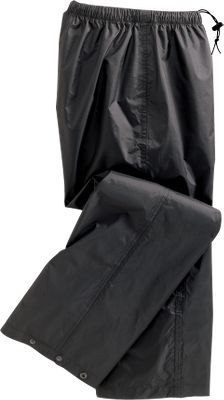 The lightweight nylon shell is coated with a waterproof treatment and has heat-tape-sealed seams for infallible moisture-beading performance. The pants are extremely packable, so you can keep them stashed in your glove box or fanny pack. They have an elastic waist with a drawcord, as well as snap-adjustable cuffs. Imported.Sizes: XS-2XL.Color: Black. - $22.88
