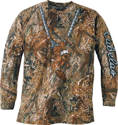 Hunting Prove youre a true waterfowler with Cabelas duck call shirt. Lanyard and calls are screen-printed with text running down the sleeve. 60/40 cotton/polyester. Imported.Sizes: M-3XL. Camo pattern: Mossy Oak Duck Blind. - $19.99