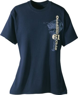 Guns and Military A cute short-sleeve tee with a stylish outdoor look. Made of soft, 100% cotton. Contrast stitching at collar and hem. Semifitted. Imported.Sizes: S-2XL.Color: Navy. - $7.88