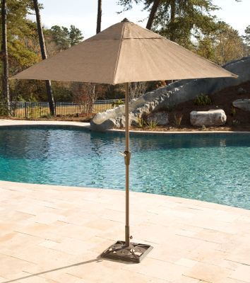 Camp and Hike Stay cool under the ample shade created by this 9-ft.-diameter umbrella. Six sturdy ribs support the airy Dura Mesh canopy. Easy-to-use, crank-driven lifting system ensures reliable, time-saving operation. Corrosion-resistant, powder-coated steel construction delivers nearly maintenance-free convenience. Updated fabrics avoid fading. Imported. Weight: 22 lbs. Base: 20L x 20W. Available: Umbrella, Base. Size: UMBRELLA BASE. Type: Umbrellas & Bases. - $59.99