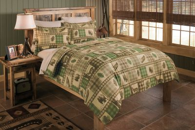 Entertainment A Cabelas-exclusive pattern featuring blocks of green and brown plaid with prints of brown bears, oak leaves, pine cones and old-fashioned wooden canoes. Three-piece set includes comforter and two pillow shams (King: 20 x 36; standard:20 x 26). Tops and backings on all are 60/40 cotton/polyester. Comforter has 100% polyester fill; shams have 60/40 cotton/polyester fill. Machine washable. Imported.Sizes:Twin (65 x 88)Full (80 x 90)Queen (88 x 90)King (90 x 102) - $24.88
