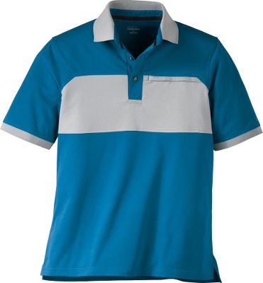 Classic polo design with stylish color blocking across the chest. Welted, zippered chest pocket. Three-button placket. Flat, rib-knit collar and cuffs. Cabelas logo embroidered on left sleeve. 65/35 cotton/polyester. Imported.Sizes: M-2XL.Colors: Bright Mallard, Deep Copper, Light Olive, Light Slate, Rye Grass, Bright Mallard Solid(not shown), Light Slate Solid(not shown). Type: Polos. Size: Large. Color: Bright Mallard Solid. Size Large. Color Bright Mallard Solid. - $4.88