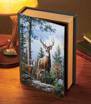 Hunting With the look and dimensions of a book, this discrete storage box is perfect for storing sentimental mementos and important correspondence from loved ones. Also great for discretely storing clutter like remotes, car keys and mail. It's made of wood and fabric and features a stunning Hautman Brothers whitetail artwork on the cover. To clean, dust with a gentle, damp cloth. Dimensions: 12H x 8W x 3D. - $7.88