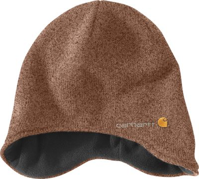 Boasting sporty style and Carhartt construction, this hats dip-down design delivers warming ear coverage. Shell is a knit blend of 50/50 acrylic/wool, and its soft fleece lining is crafted of 92/8 polyester/spandex. Embroidered logo. One size fits most. Imported. Colors: Black Heather, Brown Heather. Carhartt Style No.: 100174. - $21.99