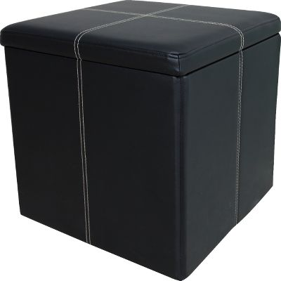 Entertainment Double-walled for extreme durability, this faux-leather ottoman is built to last with a 200-lb. weight limit and cushioned lid. Use it as a footstool, for extra seating or out-of-sight storage. The added convenience of the internal storage area lets you store games, throw blankets, files and more. Collapses down to be stored flat when not in use, making it well suited for RVs, dorms and smaller spaces. Contrast stitching. Wipes clean with a damp cloth. Imported.Dimensions: 16H x 16W x 16D.Colors: Black, Brown. - $24.88
