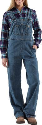 Comfortable and versatile, these denim bib overalls are constructed of 10.5-oz. cotton with 1% spandex. Theyre also unlined, making them ideal for outdoor wear in warmer weather. Two large lower-front pockets and two reinforced back pockets, as well as a ruler pocket and two utility pockets give you plenty of storage space for tools, gear or even your cell phone. The main seams are triple-stitched for extra durability, and all hardware has an antique-nickel finish. 99/1 cotton/spandex. Imported. Sizes: S-2XL.Color: Faded Blue Indigo.Carhartt Style No.: WR008 - $64.00