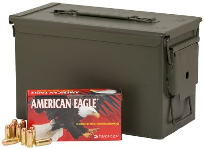 Rely on top-notch performance from affordable ammo specifically engineered to meet the needs of high-volume shooters. Reliable and accurate, these American Eagle loads feature new-manufacture reloadable boxer-primed brass cases, clean-burning powders, noncorrosive primers and 165-grain FMJ bullets. Each lot comes packaged in a mil-spec metal ammo can, a $20 value, perfect for long-term ammo storage, organization and transportation to the range. Per 350. Made in USA. Type: Centerfire Handgun. - $164.99
