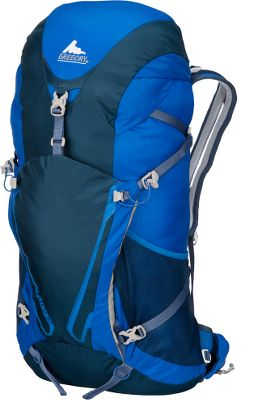 Camp and Hike A durable, fully featured pack built specifically for light, fast hiking pursuits. The Fury 32 completely eliminates the need for a stay by utilizing the Flexible Transfer System (FTS) it incorporates an active, breathable suspension for optimal weight balance and load-bearing comfort. A breathable harness and waistbelt boast mesh channel ventilation to keep you cool when the weather or activity heats up. Anatomical, contoured mesh back panel provides breathable support and stability for high-speed hikes. Flexible shoulder straps and waistbelt deliver unrestricted movement. Ample pockets for storage and organization include: shoulder-strap stash pockets; a top-loading main access pocket; top pocket with internal security compartment; and dual front stretch bucket pockets. Dual tool/axe/trekking attachment points. Cross-elastic hydration tube container. Aluminum strut above the harness activates lifters on packs 30 liters and over. Constructed of weather- and tear-resistant 210 Dynajin and 420 nylon. Imported. Gender: Unisex. Type: Backpacks. Model: Fury 32 Medium. Empty Weight: 2lbs. 2oz.. Capacity: 1,953 cu. in.. Pack Size Medium. Color Blue. - $99.88