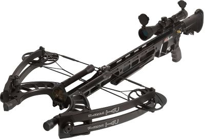 Hunting View the line of PSE Archery products. Enjoy the best of two worlds with this crossbow that combines an AR-15 stock and trigger and TAC Elite body and limbs. X-Tech limbs provide an extremely compact power platform that speeds bolts up to 405 fps. High-performance twin cams are ultrasmooth and durable. Rail-less design improves accuracy and reduces friction for increased performance. Cantilevered, mil-spec Picatinny fore grip accepts a variety of accessories. Quick-cocking, high-leverage crank handle and integrated loading system loads the crossbow in less than 30 seconds. Integrated patent-pending D-loop anti-dry-fire mechanism for safety. It can also be let down from the cocked position without firing it. Speed: 405 fps. Power stroke: 17-1/4. Draw weight: 150 lbs. Length: 41-1/2 to 45. Width: 22. Weight: 9 lbs. with accessories. Color: Black. PSE TAC Elite Package includes: crossbow, case, 3-9x42 multireticle scope, bipod and three PSE TAC arrows. Color: Black. Type: Crossbows. - $1,499.99