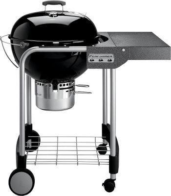 Camp and Hike A new take on classic grilling, this charcoal grill easily handles your most demanding needs. Its fold-down table is a convenient work surface, and porcelain-enameled bowl and lid withstand years of outside use. Hinged cooking grates and a built-in thermometer give you precise control of heat for perfectly cooked food. High-capacity ash catcher. Made in USA incorporating globally sourced component parts. Dimensions: 42H x 39W x 28-1/2D. Color: Silver. - $269.99