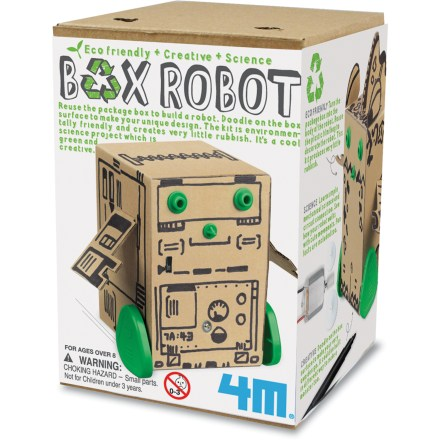 Camp and Hike This 4M Box Robot kit teaches your child about simple mechanics, letting him or her create a working, moving robot out of the package box itself. Includes a box to doodle a robot design on, plastic wheels and face parts, electric motor, on-off switch and full instructions. Requires 2 AAA batteries (sold separately). Recommended for ages 8 and up. 4M Box Robot kit teaches about simple mechanical science and circuit connection. - $6.93