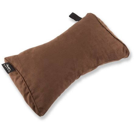 Entertainment The Bucky Beau Microsuede pillow features a sleek, ergonomic design that delivers supportive comfort for your neck or back. Microsuede cover and natural millet hull filling are a magical combination that provide silky-soft support. Premium millet hulls are smooth and durable, and able to support weight evenly without losing shape; best of all, millet is hypoallergenic. Ergonomic shape fits the curve of your neck or back perfectly. Handy snap-and-go closure contains the pillow in your bag and saves precious space in your luggage. Luxurious, removable and machine-washable cover; remove cover from product and wash on cold and tumble dry on low heat; do not wash liner and filling. Liner has a zipper which allows the pillow filling to be adjusted to your comfort level. Please note: do not microwave as there is a risk of fire! - $17.93