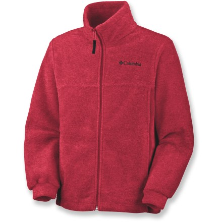For chilly nights and cool mornings, your little one will love the Columbia Steens Mountain fleece jacket. Jacket is made of polyester fleece for lofty, warm insulation that dries quickly and continues to insulate even when damp. Zippered, fleece-lined hand pockets warm chilled fingers. Columbia Steens Mountain fleece jacket features a full-zip front with a stand-up collar. Closeout. - $15.73