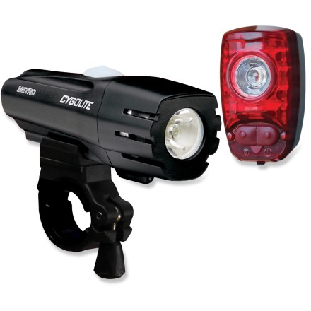 Fitness The package deal of the CygoLite Metro 300 and Hotshot 2W USB combo bike light set combines a powerful and versatile front light for illuminating your way with a bright rear light that alerts others. Cree LED on the CygoLite Metro 300 bike light puts out a powerful maximum of 300 lumens and is paired with precise optics for a beam pattern that's optimized for cycling. 3 constant lighting modes: high (300 lumens), medium (200 lumens), low (50 lumens); 2 special lighting modes: 2-in-1 SteadyPulse(TM) and day flash. SteadyPulse illumination mode combines steady brightness with an alerting flash, letting you see what's ahead of you while simultaneously letting others know your presence. Handy light mode memory automatically recalls the last lighting mode used when you turn the light back on. Internal lithium ion battery in the Metro 300 can be charged via computer USB port (charge time of 5 hrs.); run times vary between 2 (high) and 25 hrs. (day flash). Regulated output ensures consistent performance throughout the whole battery cycle; charging indicator lets you know battery status. Quick-release mount on the CygoLite Metro 300 USB light fits 25.4 - 31.8mm handlebars. CygoLite Hotshot 2W USB rear bike light boasts a bright 2-watt LED bulb and 5 customizable flash modes. Powerful 2-watt LED is paired with a specially designed reflector to maximize visibility; 5 useful flashing modes give you plenty of options. OSP (On-Site Programmable) technology means you can customize light flash speeds to suit your needs with a simple push of a button on the light. USB-rechargeable lithium ion battery on the Hotshot 2W lasts up to 500 hrs. of (flashing) use on a single charge. Water-resistant design of both lights protects them through all riding conditions. - $75.89