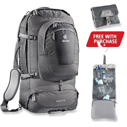 Camp and Hike The Deuter Transit 50 is the ultimate partner for trips abroad with its stylish design and timeless colors. Its suitcase/backpack carrying options make travel amazingly easy. - $179.00