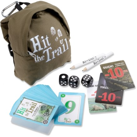 "Camp and Hike The Hit the Trail card game from Education Outdoors lets you and your family go the distance, and have fun while doing it! 2 - 4 players compete to be the first to ""hike 100 miles,"" garnering miles through dice/card combinations. Both strategy and luck come into play as players rack up the miles. Fun twists in the game include bonus rolls, ""cooler cards"" and special triples/doubles rules. Hit the Trail game comes packaged in a miniature backpack, and includes 72 cards, 3 dice and 1 pencil. Ages 8 and up. - $7.93"