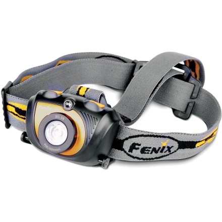 Camp and Hike The high-intensity Fenix HL30 headlamp throws a bright beam up to 40m to light up the trail on nighttime adventures. High-quality Cree XP-G LED operates in 5 brightness levels to meet your lighting needs(TM)low, mid, high, turbo and red output. Turbo gives you 5 min. of use with a maximum output of 200 lumens; after 5 min. the light automatically switches to high. Use the single red LED to preserve night vision while hanging out at camp or making your way down the trail. Strobe function outputs 45 lumens and is handy for signaling. Regulated output maintains consistent light output over the lifetime of the batteries. Memory circuit automatically locks the brightness level when you turn the light off so when you turn it back on it's at the same level. IPX6 water resistance rating ensures the headlamp will operate in bad weather. Fenix HL30 headlamp operates on 2 AA batteries (sold separately); batteries provide 140 hrs. of use on low and 1 hr. 40 min. on turbo. - $32.93