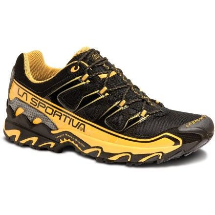 Fitness The La Sportiva Raptor trail-running shoes feature neutral support and great traction, giving you comfort and protection while logging miles on the trail. Synthetic leather uppers have ventilating nylon mesh for reduced weight and enhanced breathability; toe caps protect toes from bumps and abrasion. Thermoplastic urethane (TPU) lacing harnesses supply a secure, snug fit; external TPU heel structures offer additional stability and protection. Nylon mesh linings on tongue and back half of shoe wick moisture to help keep feet dry. Dual-density EVA midsoles provide ample cushioning and light support. Molded nylon shanks modulate toe spring and offer additional stability. Sticky rubber outsoles deliver excellent traction and a smooth, resilient ride on varied terrain. Closeout. - $46.73