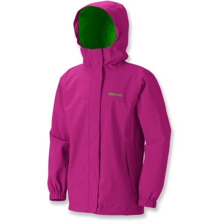 Keep her dry and ready to take on any weather with the Marmot Storm Shield rain jacket for girls; rain and wind are no match for high-quality materials and careful construction. PreCip(R) 2-layer nylon outer shell is wind and waterproof while remaining breathable; polyester taffeta lining lies comfortably next to skin and provides light insulation. Seams are 100% taped, reinforcing waterproof fabric. Marmot Storm Shield rain jacket includes 2 zippered hand pockets for storing valuables. Full-length front zipper features double storm flaps for extra protection against the elements. - $44.93