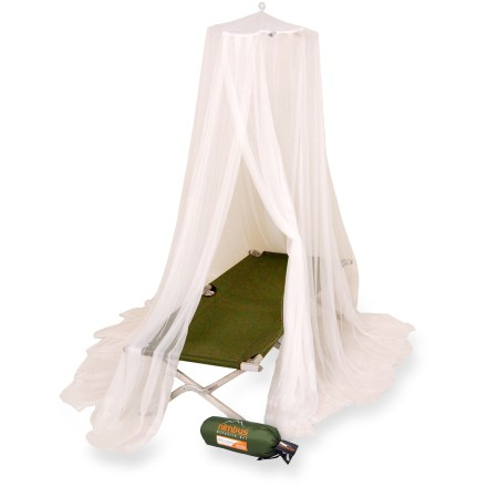 Camp and Hike The pyramid-shaped Mombasa Nimbus Insect Shield mosquito net protects travelers from biting bugs. It features an easy 1-point suspension system and Insect Shield(R) Repellent adds protection. - $45.00