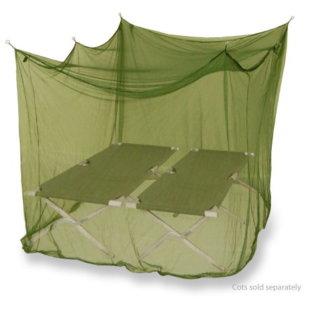 Camp and Hike The double-size Mombasa Outback Insect Shield mosquito net is a lightweight, inexpensive way to protect yourself from mosquitoes. Insect Shield(R) Repellent adds protection. EPA-registered, odorless Insect Shield(R) Repellent Gear repels mosquitoes, ticks, flies, and fleas. Insect Shield uses permethrin which is a man-made version of a natural insect repellent found in a type of chrysanthemum plant. Invisible built-in Insect Shield(R) repellent remains effective through 6 months of exposure to weathering or through 25 launderings for washable items; do not dry clean. Green color blends into the outdoors. Rectangular net hangs from 4 - 6 suspension points; use a tree or other suitable object. Synthetic cord and instructions included. Comes in a plastic storage bag. Please note: mesh is not no-see-um type. - $26.00