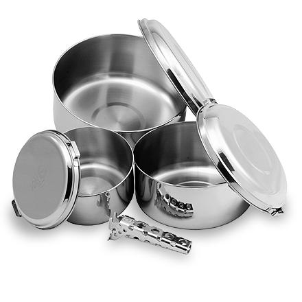 Camp and Hike The rugged stainless-steel MSR Alpine 4 Pot Set includes 3 pots that provide long-lasting, reliable performance. - $79.95