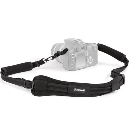 Entertainment The slash-proof Pacsafe Carrysafe 100 Secure camera strap helps you avoid slash-and-grab theft of your camera or binoculars. - $6.93