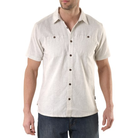 Start your journey to a warm climate in the Patagonia Migration hemp shirt. - $28.83