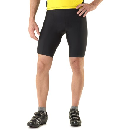 Fitness These Pearl Izumi Quest bike shorts are great for the both entry-level cyclist and the daily rider. It provides function and durability with features usually only found in high-end shorts. Blending nylon and spandex, SELECT Transfer fabric combines excellent stretch with cool comfort, using quick-drying hydrophobic yarns. 6-panel construction eliminates the inseam and potential pressure points and conform nicely to body curvature. Seamless 3D Tour chamois features 13mm of varible densities of contoured padding to preclude friction points and protect key areas. Pressure Relief Technology gender-specific chamois reduces pressure points via differentiated levels of padding; chamois also wicks moisture off skin. Chamois features an antimicrobial finish that helps control odors. Fusion technology bonds the dual-density padding to eliminate seams and thereby increase comfort. Silicone grippers at leg hems hold the shorts in position. Fabric provides UPF 50+ sun protection, shielding skin from harmful ultraviolet rays. - $50.00