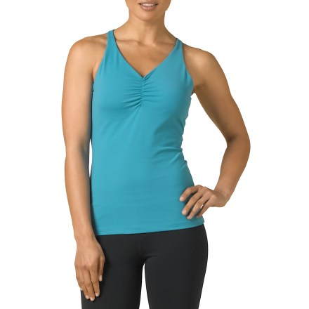 Fitness Reach for the prAna Sabin Chakara(R) tank top anytime you want the sleek comfort of quick-drying performance fabric. Nylon and spandex blend dries quickly and moves with you thanks to its 4-way stretch. Front shirring and racerback add a touch of styling. The prAna Sabin Chakara tank top offers light support thanks to an internal shelf bra. - $29.83